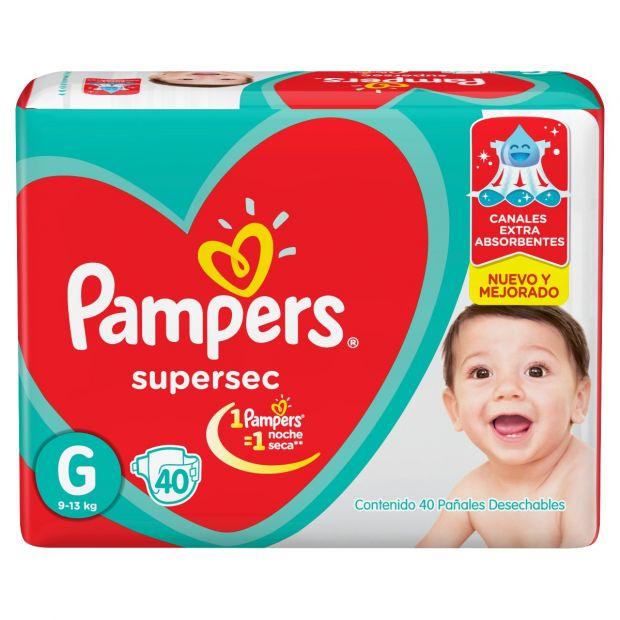 PAÑAL PAMPERS SUPER SEC GRANDE 40 UN. (MAYORISTA 40 PAQUETES)