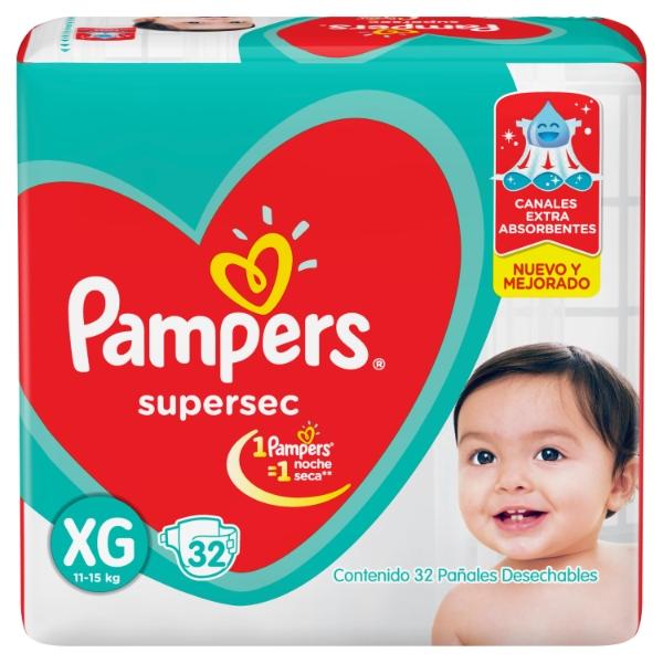 PAÑAL PAMPERS SUPERSEC EXTRA GRANDE 32 UN. (MAYORISTA 40 PAQUETES)