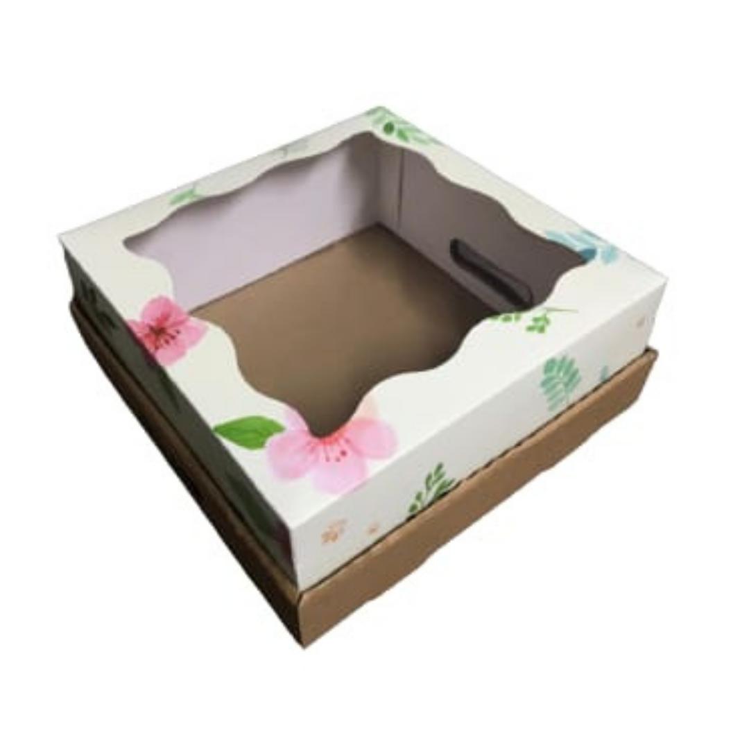 Bandeja Caja Desayuno 30x30x12 Flores Rosas