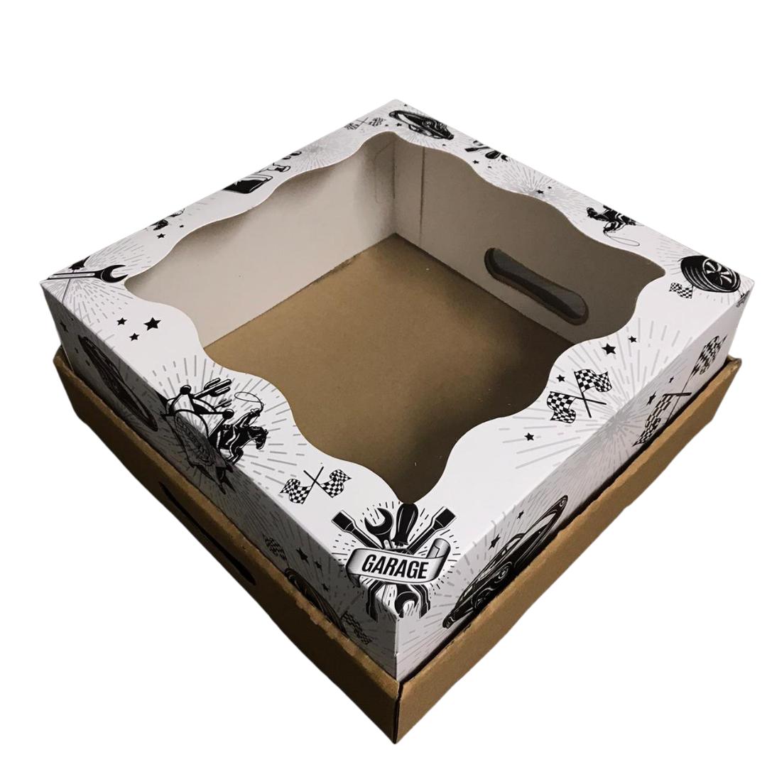 Bandeja Caja 30x30x12 Blanco y Negro